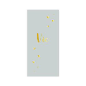 Hip goudfolie geboortekaartje voor jongen met hartjes op olijfgroen