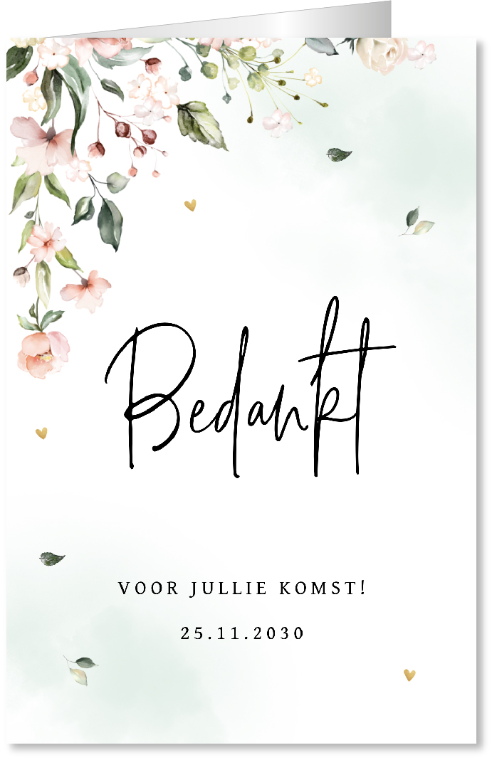 Bedankkaart romantic flowers watercolor