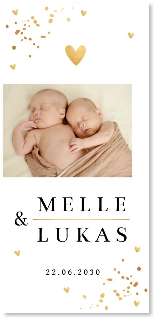 Geboortekaartje tweeling gouden confetti