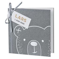 Schattig babykaartje met een beer in zilverfolie I Buromac 589060