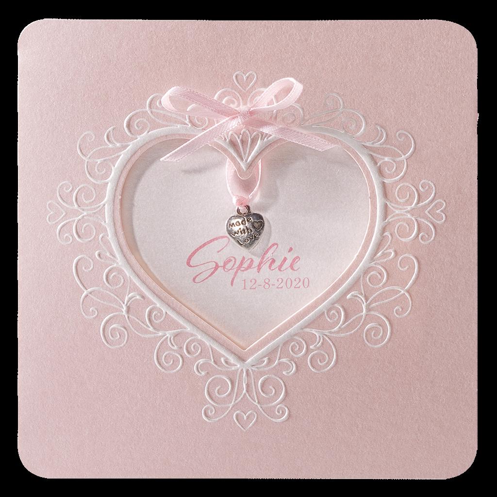 Klassiek geboortekaartje meisje met hart en strikje I 715044