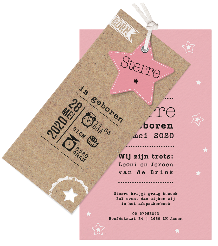Hippe geboortekaart met roze ster en kraft I 717035