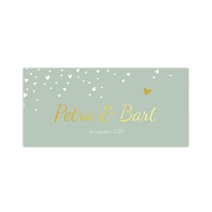 Hippe olijfgroene trouwkaart met goudfolie en hartjes