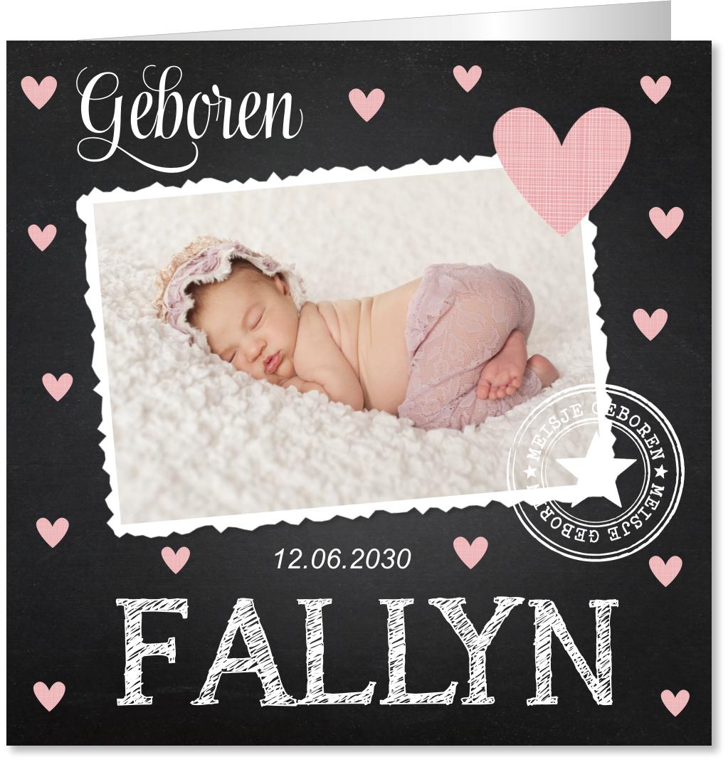 Geboortekaartje foto hartjes