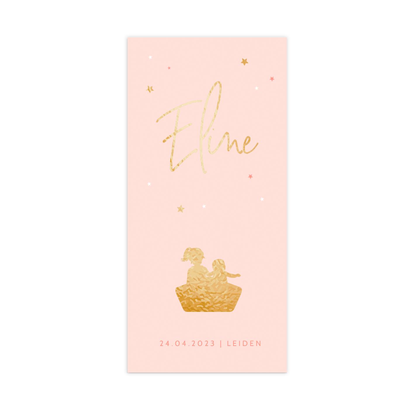 Hip goudfolie geboortekaartje voor een meisje met zusjes in een bootje