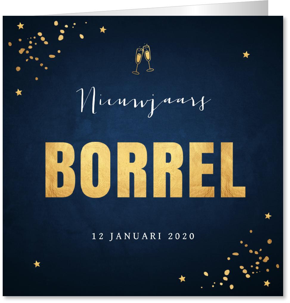 Nieuwjaarsborrel uitnodiging donkerblauw