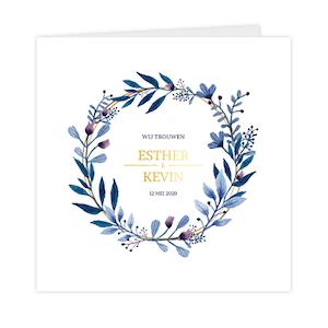 Goudfolie trouwkaart met stijlvolle krans