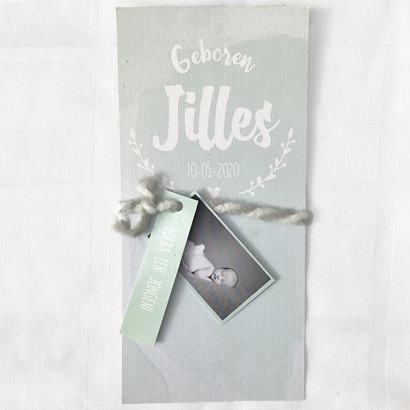 Foto labeltjes voor geboortekaartje pastelgroen