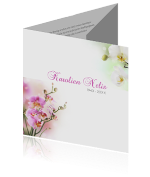 Drieluik rouwkaart met verschillende orchideeen