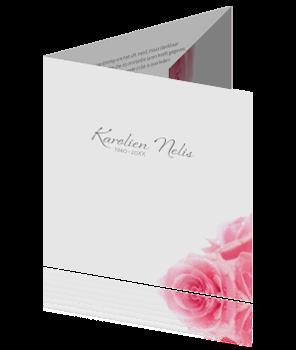 Drieluik rouwkaart met roze rozen