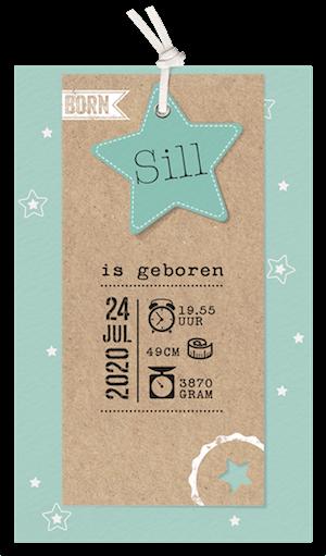 Trendy geboortekaart met sterren en kraftpapier