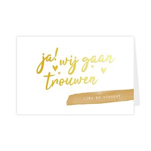Goudfolie trouwkaart met 'ja, wij gaan trouwen'