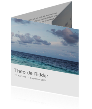 Drieluik rouwkaart met zee en strand