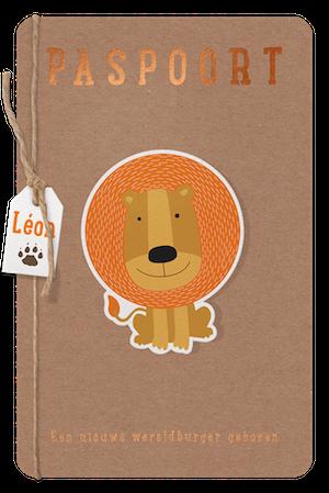 Belarto paspoort geboortekaartje met leeuw 717041