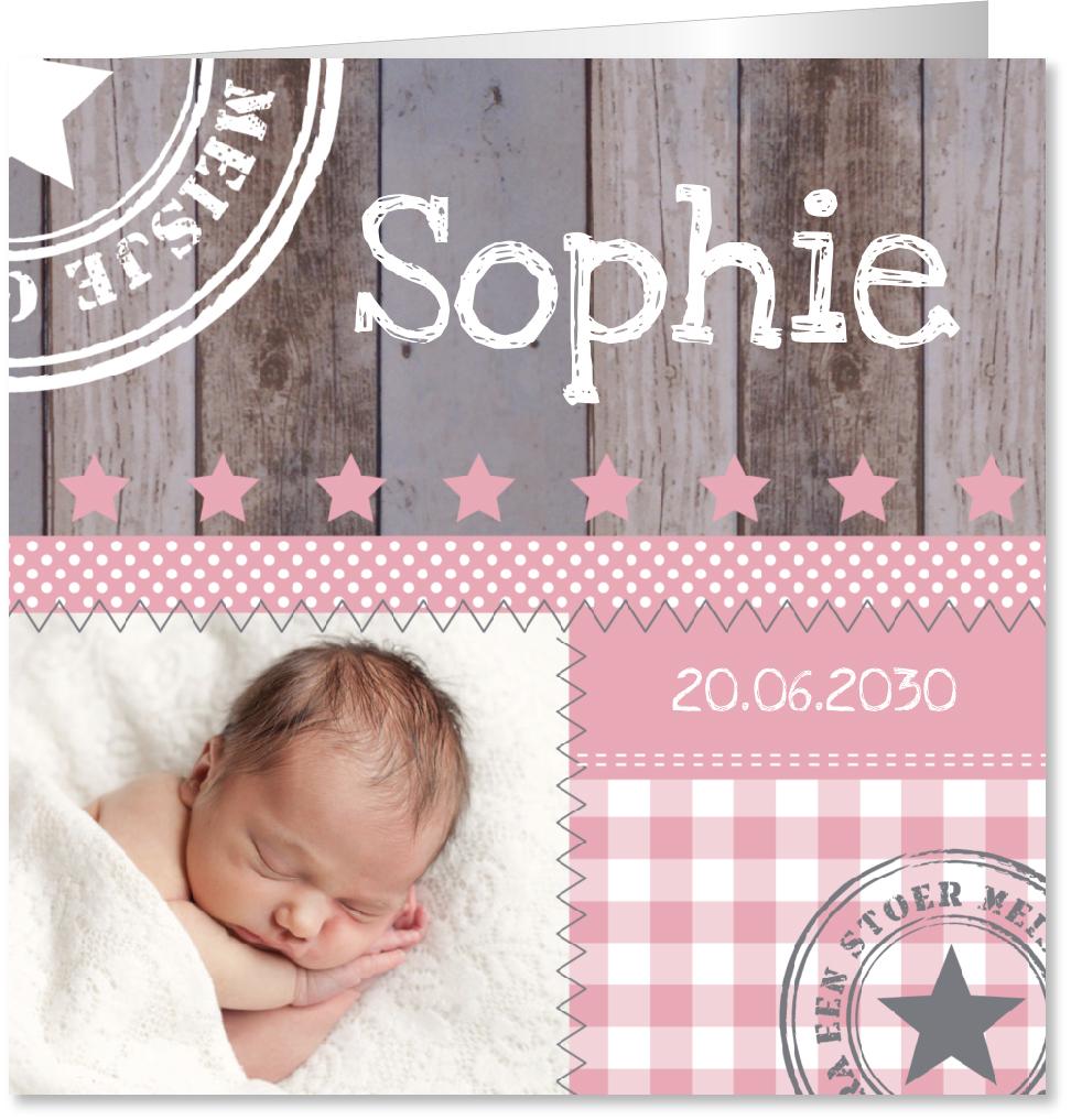 Geboortekaartje foto meisje houtlook
