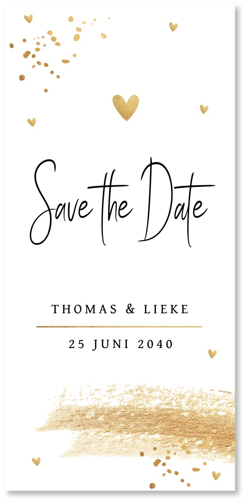 Save the Date kaart confetti goud