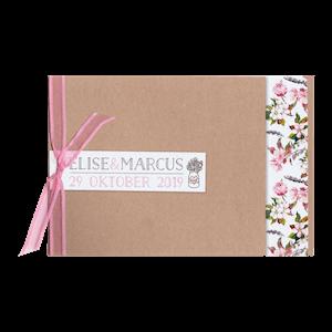 Romantisch trouwkaartje met roze bloemen I 727009