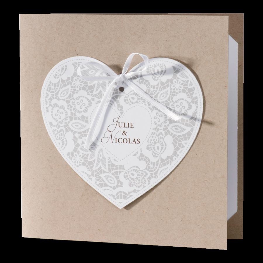 Klassieke trouwkaart van Buromac met hart op kraftpapier I 106117