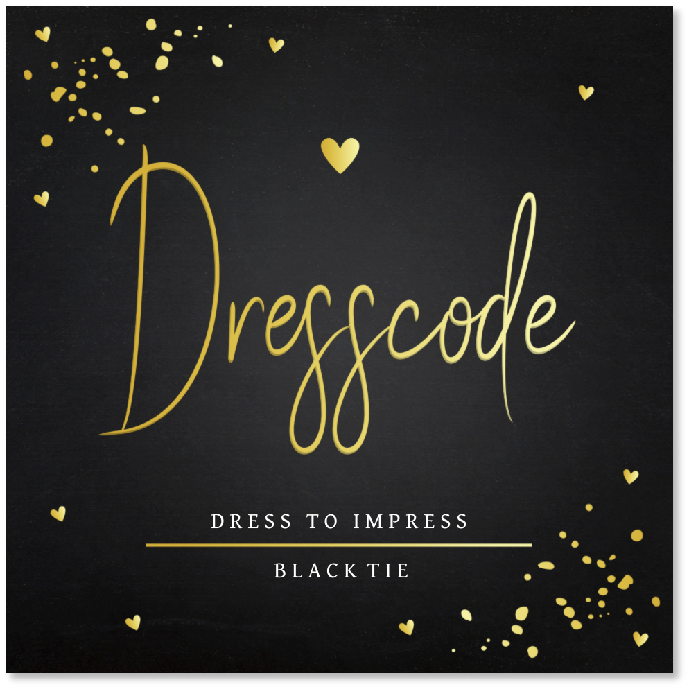 GOUDFOLIE dresscode kaartje zwart confetti goud