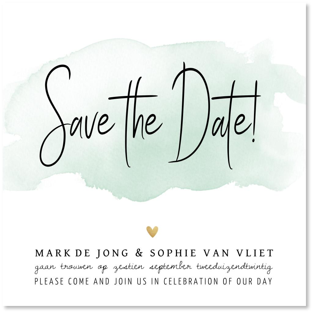 Save the Date kaart waterverf
