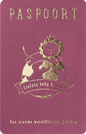 Paspoort geboortekaartje met wereldbol en leeuw I 715119x