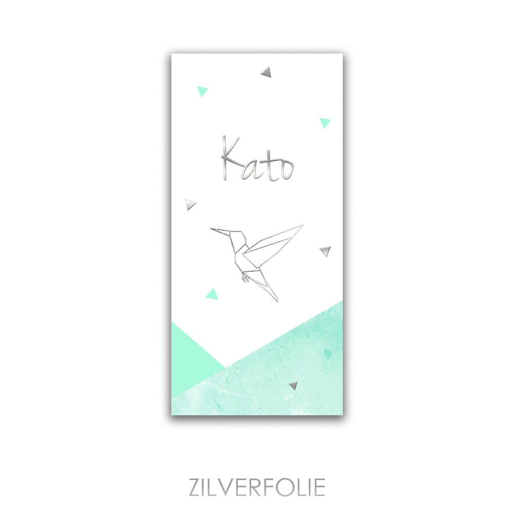 Zilverfolie geboortekaartje met kolibri en groentinten
