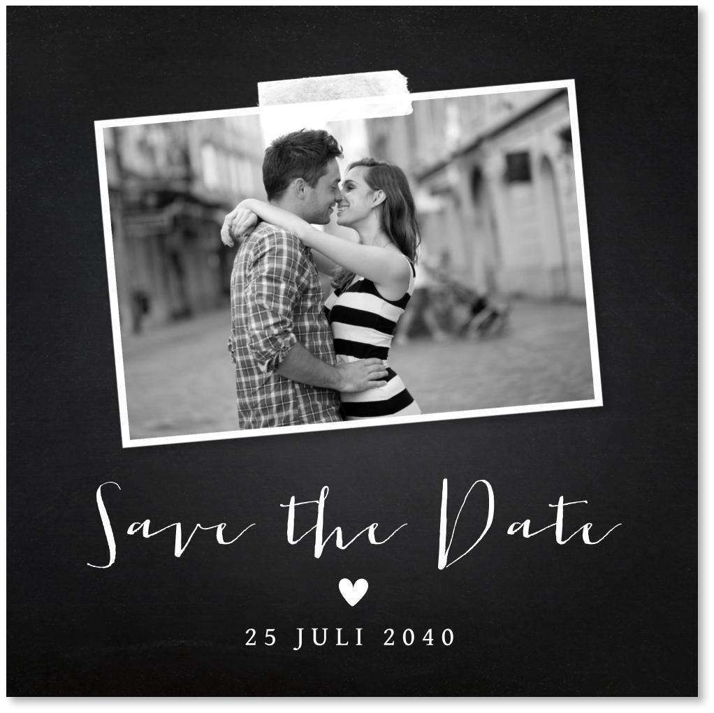 Save the Date kaart foto krijtbord