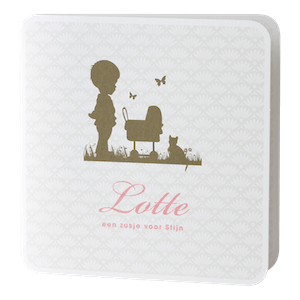 Retro geboortekaartje met jongen bij wiegje I 584093