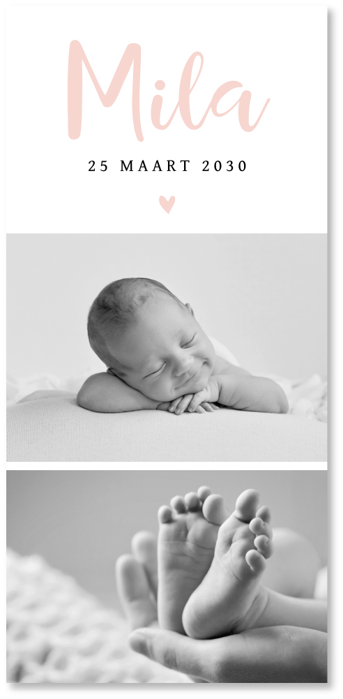 Geboortekaartje foto meisje stijlvol zwart-wit