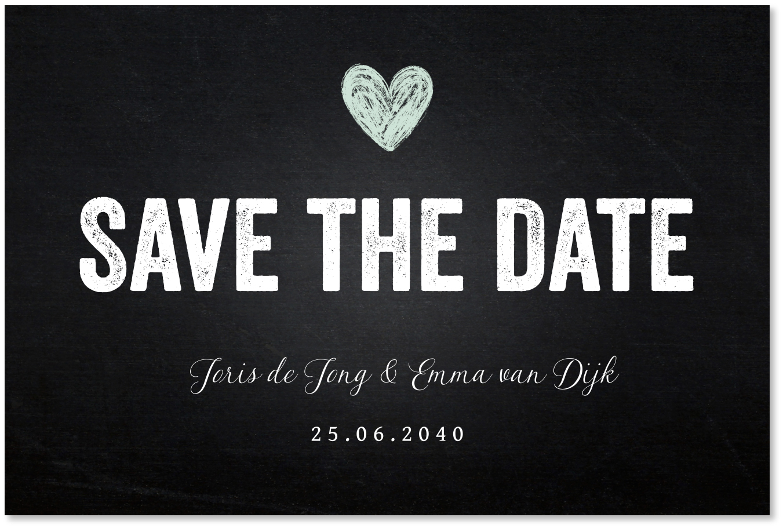 Save the Date krijtbord hartje