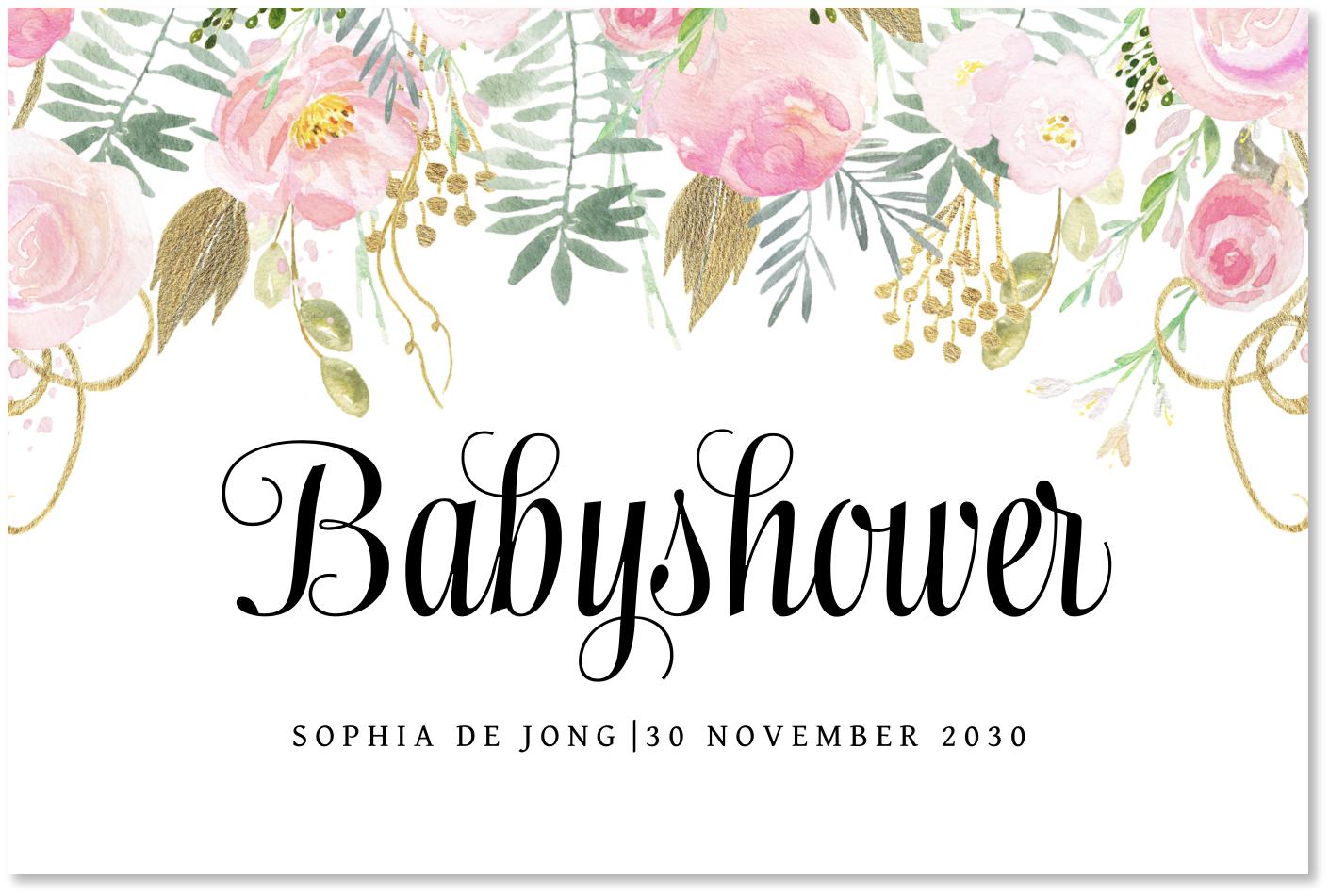 Babyshower uitnodiging waterverf bloemen