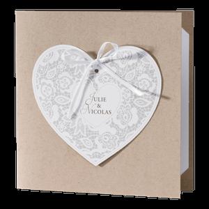 Klassieke trouwkaart met hart op kraftpapier I 106117