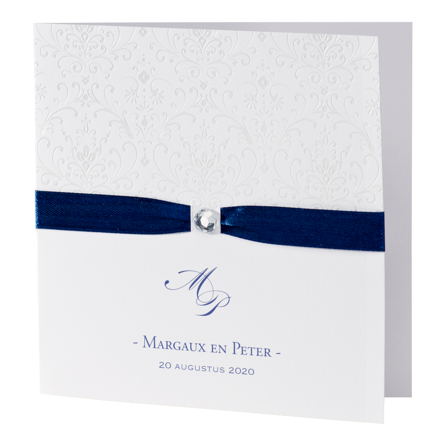 Chique trouwkaart met donkerblauw lint - Buromac 106004