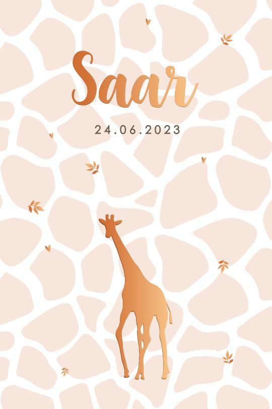 Koperfolie meisje geboortekaartje giraffe print