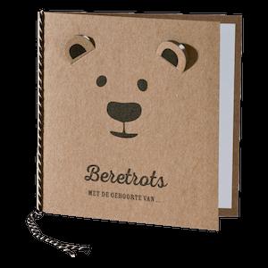 Hip geboortekaartje met beer op kraftpapier I 586061