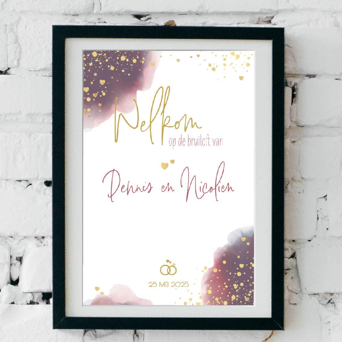 Poster trouwfeest waterverf en gouden hartjes
