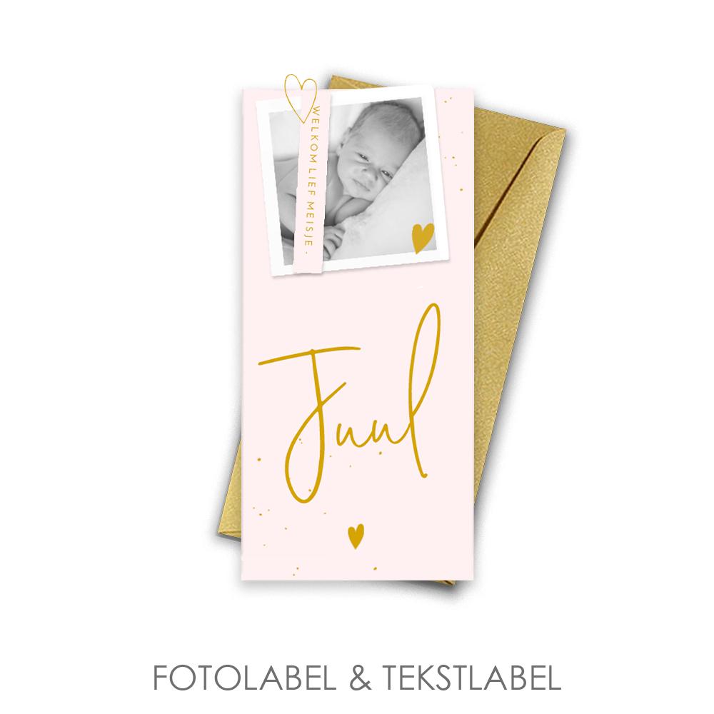 Elegant geboortekaartje met fotolabel en tekstlabel