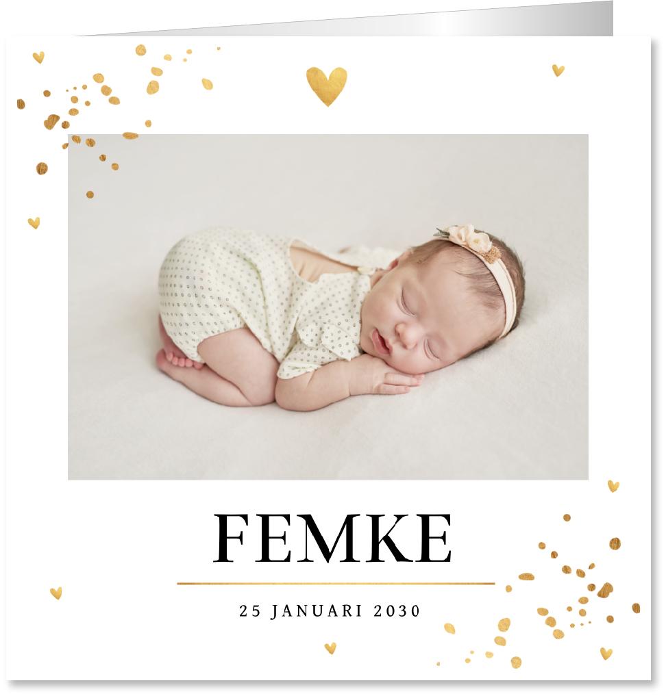 Geboortekaartje foto goudlook confetti
