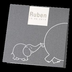 Getekend geboortekaartje met babyolifant I 580019