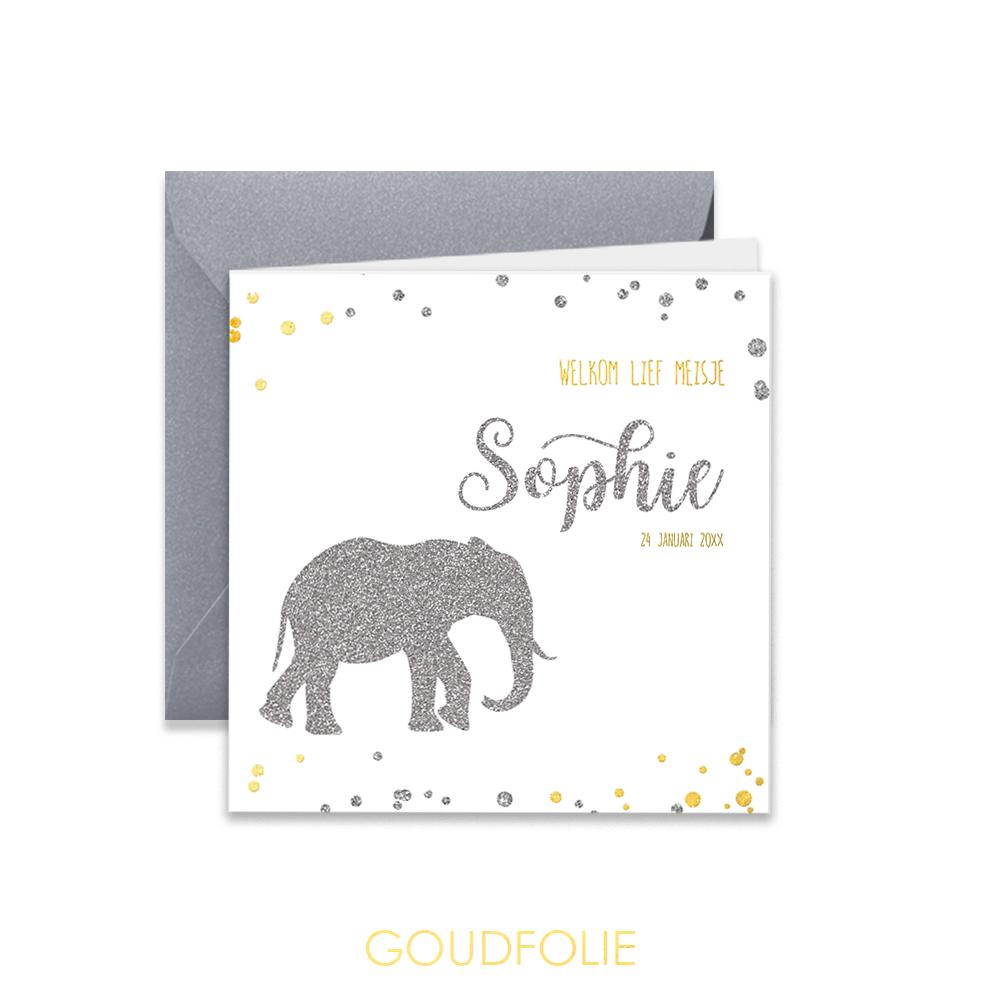 Zilverfolie geboortekaartje met olifantje en glitter