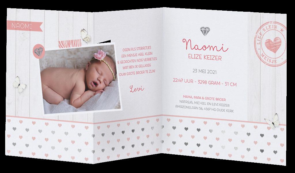 Lief geboortekaartje met foto en hartjes | Belarto 718033