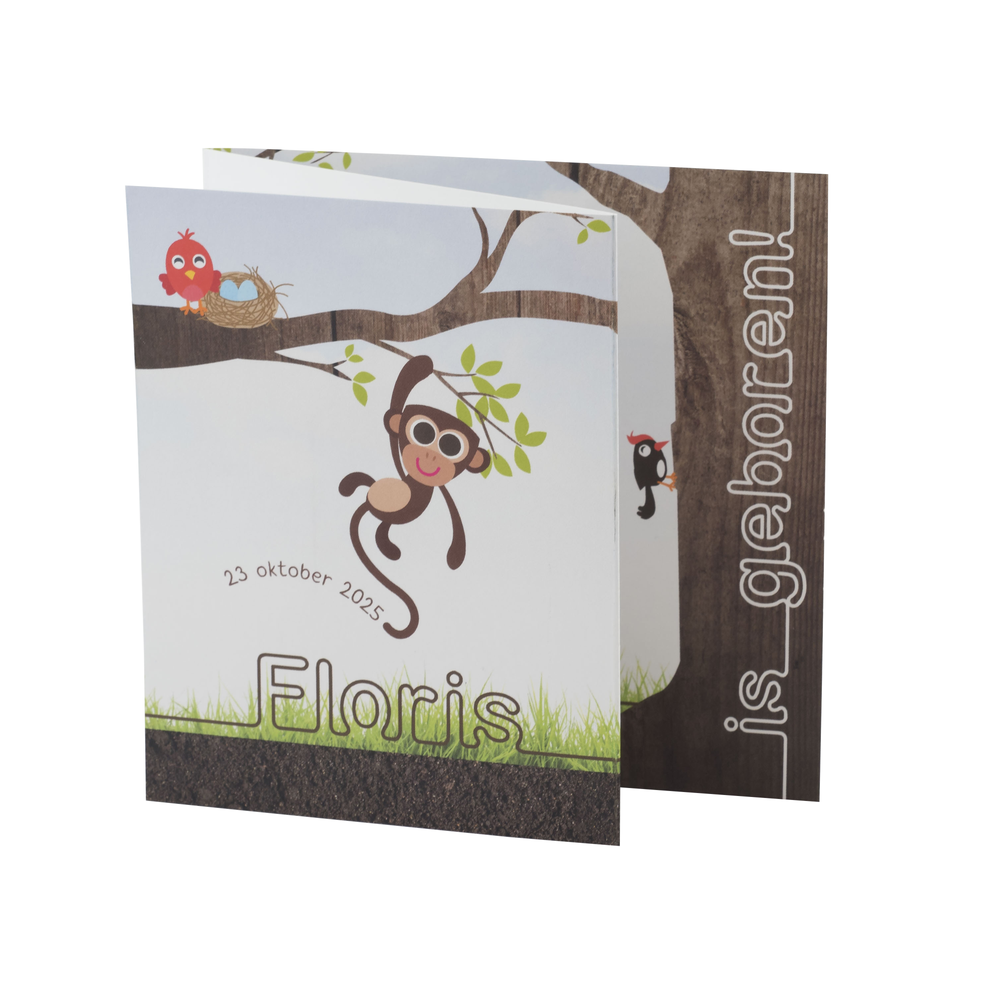 Illustratieve babykaart met aapje