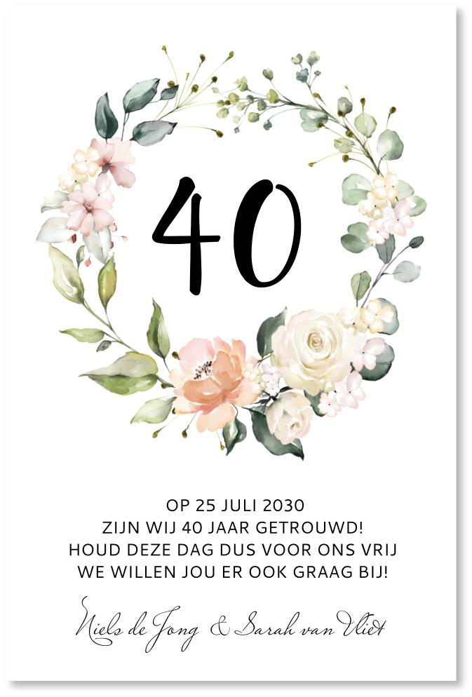 Jubileumkaart bloemenkrans