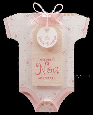 Lief geboortekaartje als roze romper I 715005