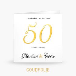 Uitnodiging goudfolie 50 jaar getrouwd stijlvol