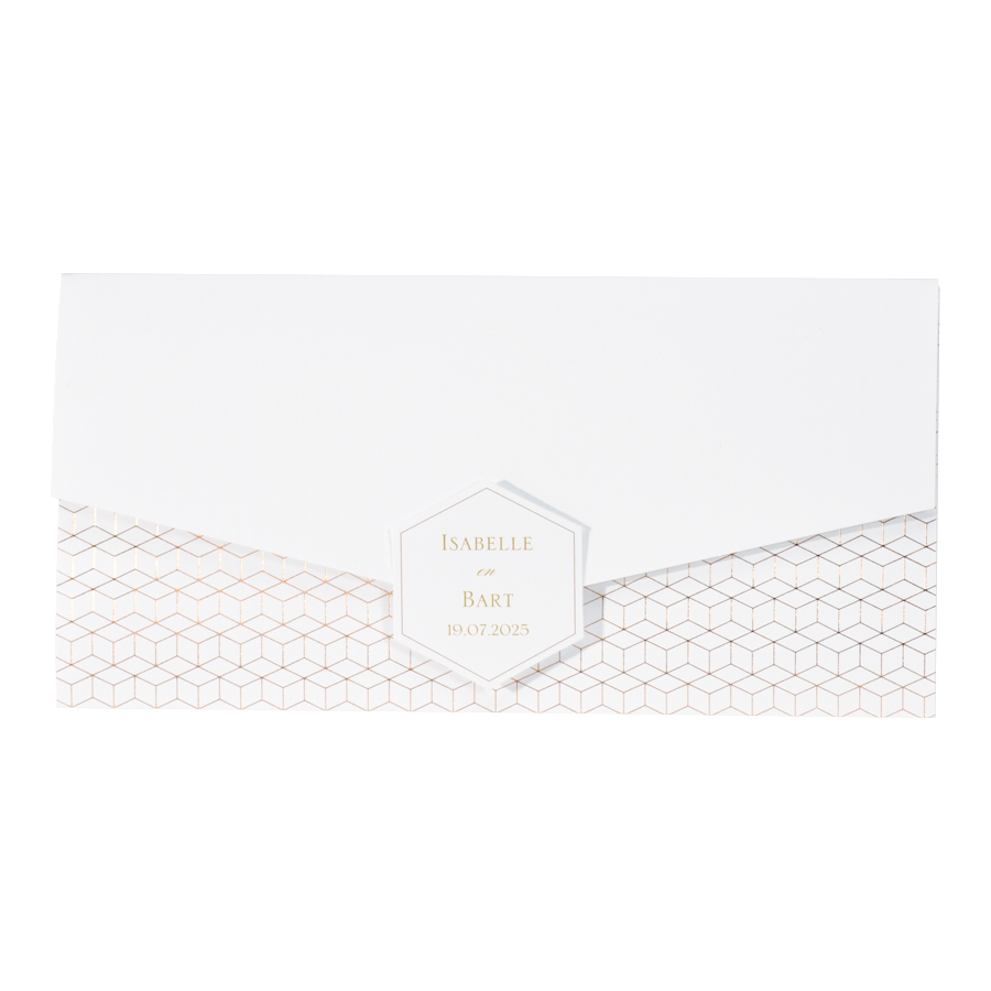 Stijlvolle trouwkaart - Envelop-vorm met goud patroon I Buromac 108065