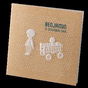 Lief babykaartje Belarto met reliëfdruk op kraftpapier