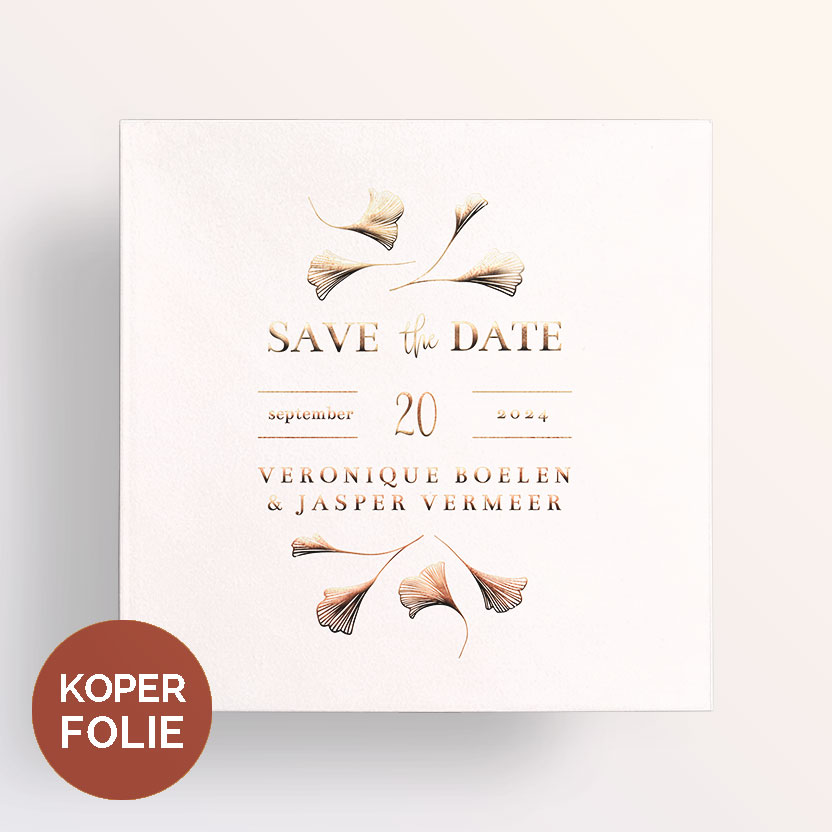 Koperfolie Save the Date Ginkgo Roze