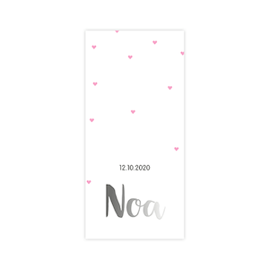 Zilverfolie geboortekaart met roze hartjes
