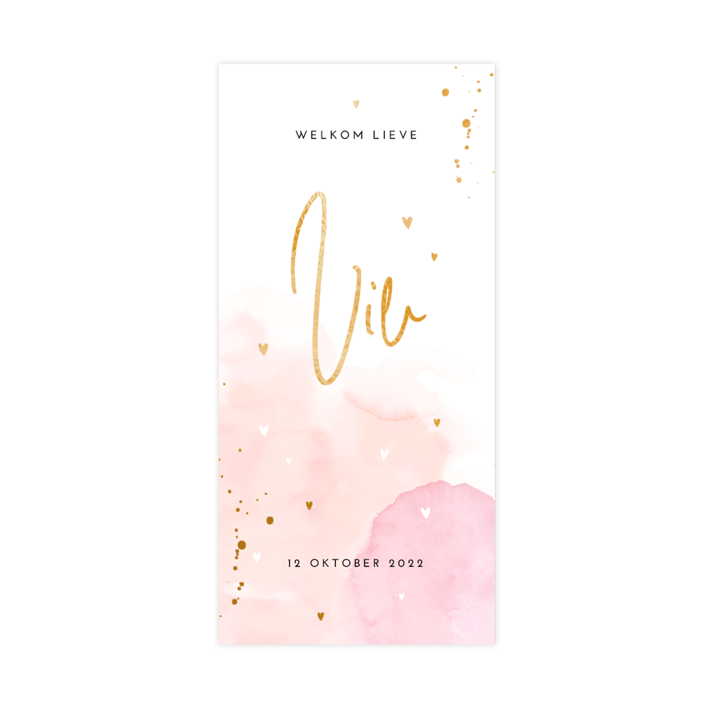 Lief goudfolie geboortekaartje voor meisje met watercolour peach